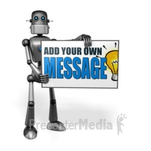ID# 19117 - Retro Robot Custom Sign Right - Presentation Clipart