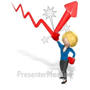 ID# 19119 - Business Woman Punch Arrow - Presentation Clipart