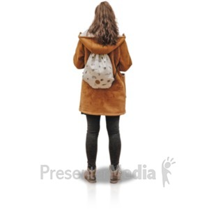 ID# 19126 - Young Girl Coat Backside - Presentation Clipart