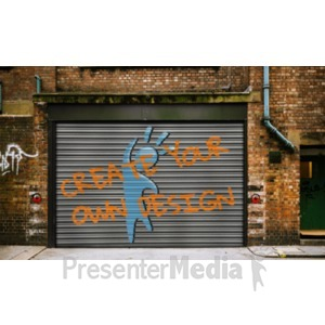 ID# 19175 - Graffiti On Warehouse Door Custom - Presentation Clipart