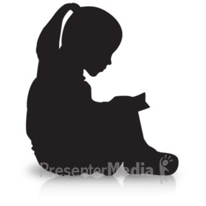 ID# 19181 - Girl Reading Silhouette - Presentation Clipart