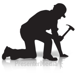 ID# 19183 - Construction Silhouette Hammer - Presentation Clipart