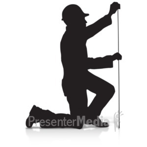ID# 19190 - Construction Silhouette Measure - Presentation Clipart
