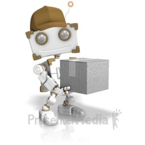 ID# 19195 - Delivery Robot Holding Closed Box - Presentation Clipart