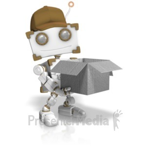 ID# 19196 - Delivery Robot Holding Open Box - Presentation Clipart