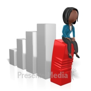 ID# 19222 - Business Woman Sit On Graph - Presentation Clipart