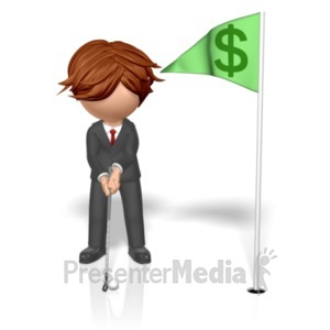 ID# 19231 - Businessman Putt Money Flag - Presentation Clipart