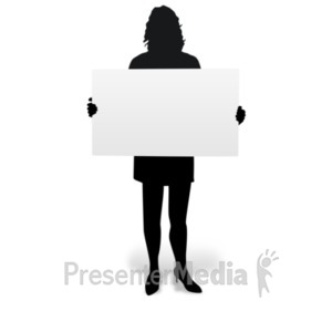 ID# 19238 - Woman Holding Board Silhouette - Presentation Clipart