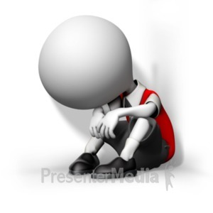 ID# 19273 - Boy Child Huddled In Corner - Presentation Clipart