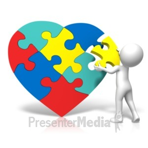 ID# 19300 - Autism Heart Puzzle Insert - Presentation Clipart