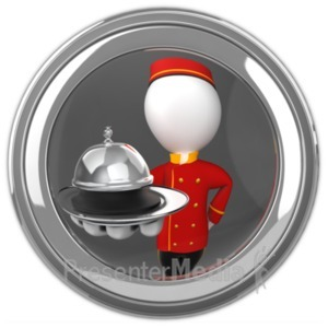 ID# 19470 - Bell Hop In Eyehole With Holding Service - Presentation Clipart