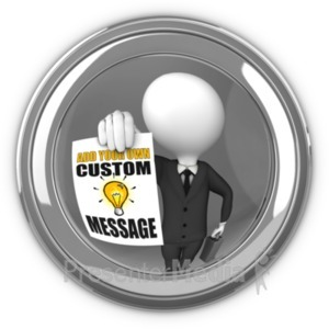 ID# 19503 - Businessman In Eyehole With Sign - Presentation Clipart