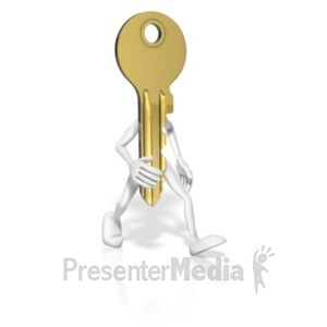 ID# 19564 - Key With Arms Legs - Presentation Clipart