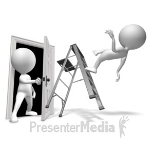 ID# 19605 - Walk Through Door Accident - Presentation Clipart