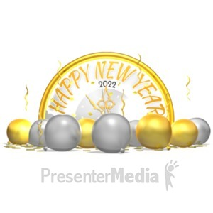 ID# 19621 - New Years Clock Behind Balloons Confetti - Presentation Clipart