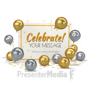 ID# 19644 - Balloons With Card - Presentation Clipart