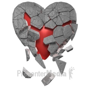 ID# 19653 - Breaking Heart Of Stone - Presentation Clipart