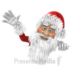 ID# 19664 - Santa Waving Above Wall - Presentation Clipart
