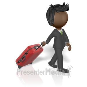 ID# 19670 - Businessman Pull Luggage - Presentation Clipart