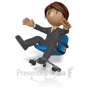 ID# 19673 - Businessman Fall Chair - Presentation Clipart