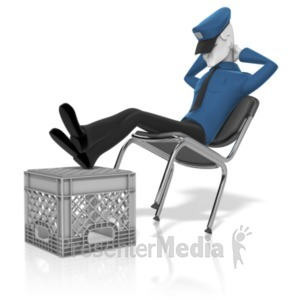 ID# 19733 - Security Guard Asleep - Presentation Clipart