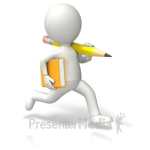 ID# 19738 - Running Book Pencil - Presentation Clipart