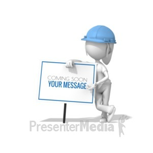 ID# 19756 - Woman Lean Construction Sign - Presentation Clipart