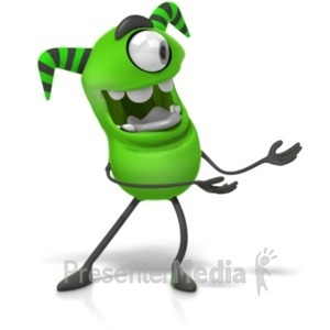 ID# 19769 - M Monster Gesturing To The Side Clip - Presentation Clipart