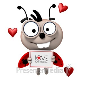 ID# 19780 - Love Bug With Sign - Presentation Clipart