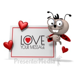 ID# 19787 - Love Bug Beside Sign - Presentation Clipart