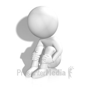 ID# 19843 - Sad Figure By Wall - Presentation Clipart