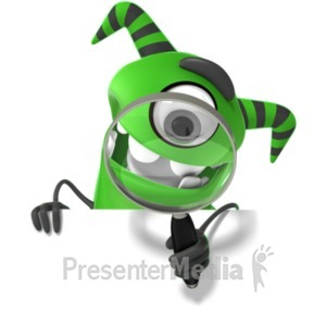 ID# 19882 - M Monster Holding Magnifying Glass - Presentation Clipart