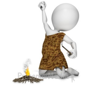 ID# 19916 - Caveman Start Fire - Presentation Clipart