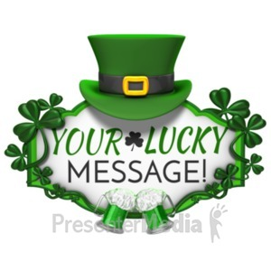 ID# 19954 - St Patricks Day Hat Sign Cheers - Presentation Clipart