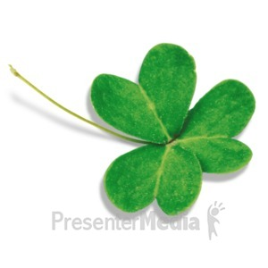 ID# 19957 - Single Three Leaf Clover - Presentation Clipart