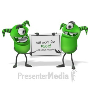 ID# 19979 - Monsters Holding Sign - Presentation Clipart