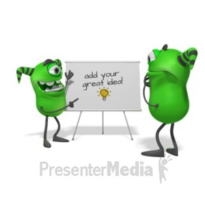 ID# 20050 - Monsters White Board - Presentation Clipart