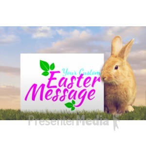 ID# 20127 - Orange Easter Bunny Custom - Presentation Clipart
