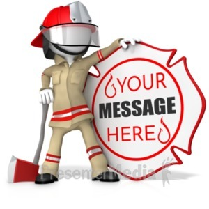 ID# 20133 - Fire Fighter Standing By Custom Sign - Presentation Clipart