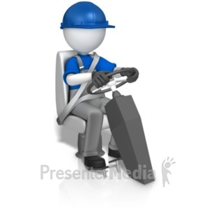 ID# 20164 - Worker In Seat Behind Wheel - Presentation Clipart