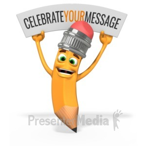 ID# 20166 - Scribbles Pencil Celebration Sign - Presentation Clipart