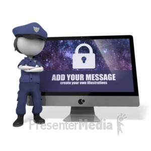 ID# 20195 - Police Officer Cyber Security - Presentation Clipart