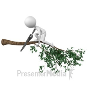 ID# 20219 - Cutting Branch Wrong - Presentation Clipart