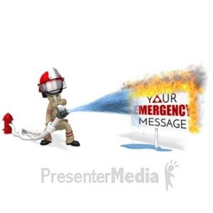 ID# 20259 - Firefighter Putting Out Sign Fire - Presentation Clipart