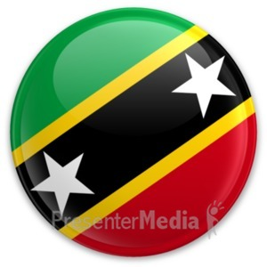 ID# 20300 - Flag Saint Kitts And Nevis Button - Presentation Clipart