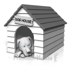 ID# 20322 - Dog Resting In House - Presentation Clipart