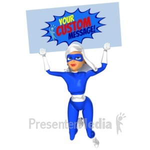 ID# 20400 - Supergal Flying Sign Custom - Presentation Clipart