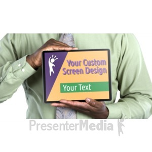 ID# 20463 - Jake Holds Tablet Horizontal Custom - Presentation Clipart