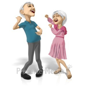 ID# 20634 - Old Couple Dancing Machines - Presentation Clipart