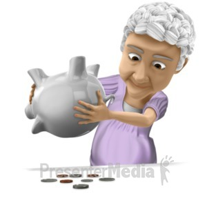 ID# 20637 - Bernice Tipping Piggy Bank - Presentation Clipart